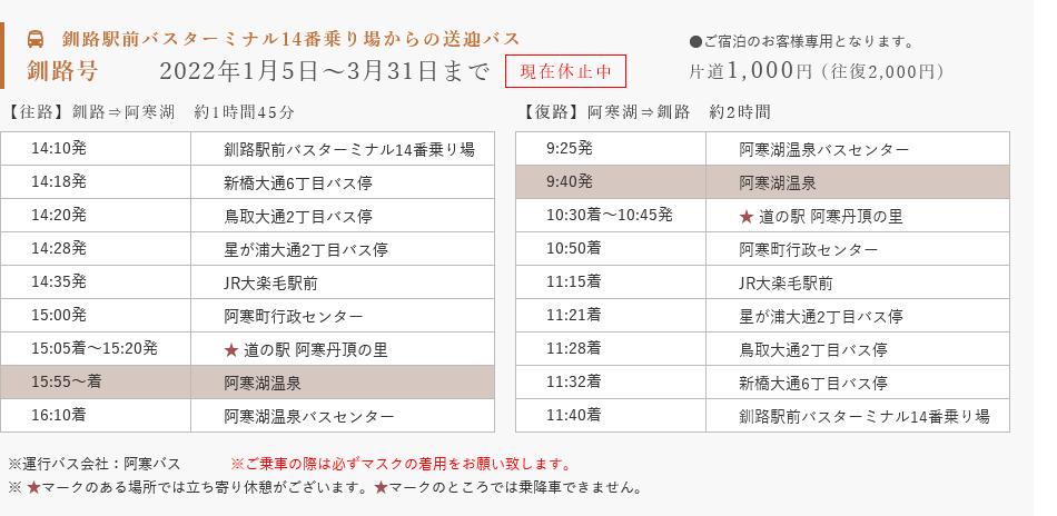 釧路号11月〜3月